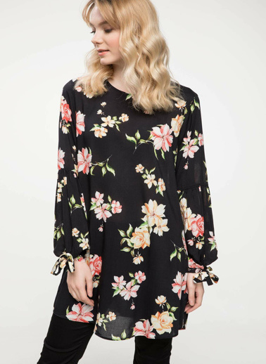 DeFacto Çiçek Desenli Uzun Tunik Siyah